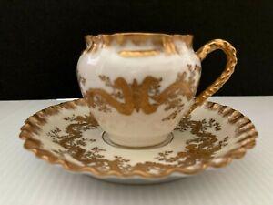 ANTIQUE LIMOGES HAVILAND HEAVY GOLD DESIGN RARE DEMITASSE CUP AND SAUCER 19TH C