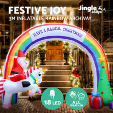 Jingle Jollys Christmas Inflatable Rainbow Archway Santa 3M Outdoor Decorations