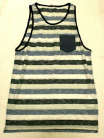 Camiseta de chico sin mangas a rayas en tonos azules    - talla XL