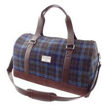 Authentic Harris Tweed Weekend Travel Bag Blue/Brown Checked LB1026 COL40