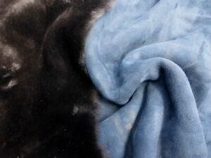sheepskin shearling leather hide Deep Dark Brown silky w/Denim Blue Suede back