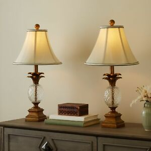 Set of 2 Pineapple Table Lamps ~ Glass & Antiqued Gold Base ~ Amber Silk Shade