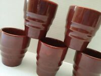 RARE GLADDING McBEAN FRANCISCAN BROWN EL PATIO CUPS TUMBLERS JUICE GLASSES