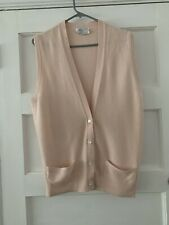 White Of Hawick Pure Cashmere Buttoned Sleeveless Cardigan Waistcoat Size M/L