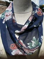 Infinity scarf, beautiful pattern, blue color theme, chiffon, handmade