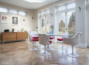 200cm x 120cm White Laminate Oval Tulip Style Table & 4 + 2 Tulip Style Chairs