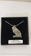 B3 Tawny Owl fine english pewter 3D Platinum Plated Necklace Handmade 18 INCH