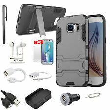 Black Kickstand Case Cover Charger Earphones Accessory For Samsung Galaxy S7