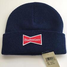 Lucky Brand Budweiser Beer Patch 100% Wool Blue Beanie Winter Ski Hat NEW $39