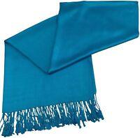 CJ Apparel Denim Blue (New) Solid Colour Design Shawl Scarf Pashmina Seconds NEW