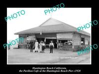 OLD LARGE HISTORIC PHOTO OF HUNTINGTON BEACH CALIFORNIA, THE PIER CAFE c1920