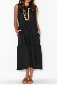 Black Midi Sleeveless Linen Blend Tier Dress NWT sizes S/M, M/L, L/XL, XXL