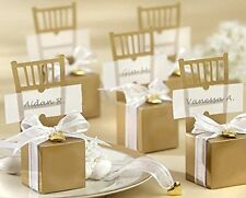 Miniature Gold Chair Favor Box with Heart Charm and Ribbon - Set of 50