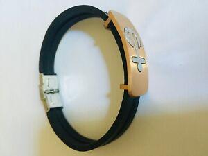 Anchor Design Men's Leather Wrist Band / Bracelet (Black)
