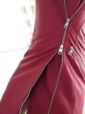 NEU 2018 HOHE ROT Leder Optik Leather Look VIP Damen ZE3 Dress Top Kleid Red S