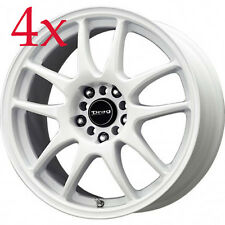 Drag Wheels DR-31 17x8 5x100 5x114 +35 White Rims For TC Lancer Celica Civic Si