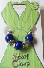 Scarf Clasp Clip Holder Blue Lapis Beads Magnetic Clasp for Scarfs Shawl