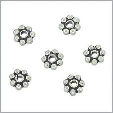 100 Bali Sterling Silver Daisy Rondelle Beads 4mm #51233