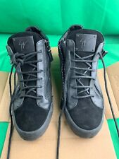 Guiseppe Zanotti Mens High Top Suede And Leather Sneakers |Black | Size 42