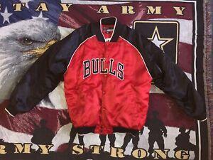 Vintage Nike Chicago Bulls Satin Varsity Jacket Size XL Red/Black