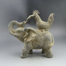China, bronze ware, collectibles, artwork, bronze,elephant&cock,statues C92