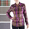 Women Dickies Long Sleeve Shirts HERRINGBONE Plaid Pocket Snap Button FL051