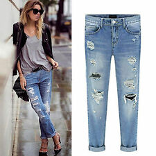 Women Denim Ripped Destroyed Jeans Pants Stretch Skinny Slim Fit Casual Trousers