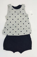 NWT Baby Gap Girls 3 6 12 18 Month Gray Polka Dot Bow Top & Navy Bubble Shorts
