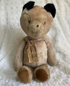 """EDEN PADDINGTON BEAR Vintage Tan 18"""" Teddy Bear Plush Toy w/ Peru Name Tag 1975"""