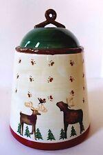 DEBBIE MUMM Moose and Reindeer Cookie Jar 2008 Country Holiday Christmas EUC
