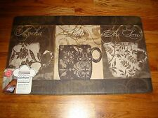 Anti Fatigue Foam Comfort Kitchen Floor Mat Rug 18x30 COFFEE Floral MOCHA Latte