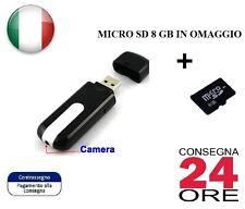 Spy CAM Chiavetta USB con Telecamera Video Nascosta su Micro USB Spia + SD 8 GB