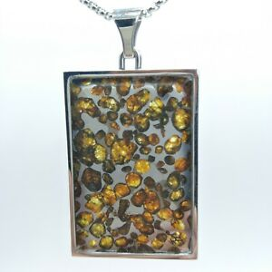 Natural Sericho Pallasite Meteorite Rectangle Type Super Pendant Stainless Frame