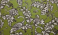Stout Bountiful Leaf Green Peacock Floral Cotton Drapery Fabric by the Yard