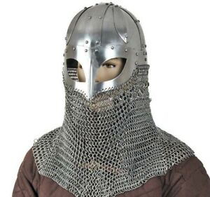 Viking Battle Helmet Ready Spectacle With Chainmail Aventail 16G Steel SCA LARP