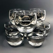 8 Thorpe Roly Poly Glasses Silver Band Etched Farming Tractors Barware Man Cave