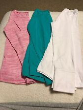 3 Girls Justice Long Sleeve T-shirts Pink Aqua White Size 12