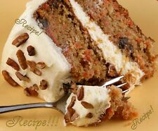 "☆Classic Carrot Cake W/Fluffy Cream Cheese Frosting ""RECIPE""☆Moist & Flavorful!☆"