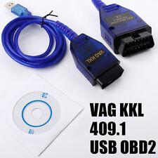 Cable USB KKL VAG-com 409.1 OBD2 II OBD Diagnóstico Escáner Para Audi Seat Vcd