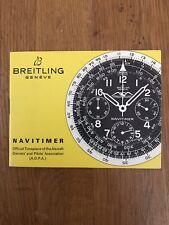 NOS Vintage Instruction Manual Breitling Navitimer 806 809 7806
