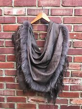 GUCCI GG Fox Fur Trim Silk Wool Chocolate Brown Scarf Wrap Shawl Fringe SO RARE*