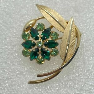 Signed ART Vintage FLOWER BROOCH Pin Green Rhinestone Gold Filled Jewelry