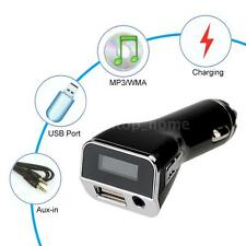 2 in 1 Car Charger Music MP3 Player FM Transmitter Hi-Fi USB Aux-input S3Q0