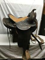 Vtg 1960's American Saddlery P404 leather horse saddle hand tooled Wood Stirrups