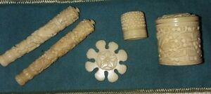 Antique 19th c Carved Bovine Sewing Needle Cases, Thimble in Box & Thread Winder
