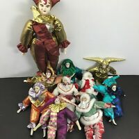 Lot of 10 Vintage Sugar Loaf Mardi Gras Holiday Jester Classiques Clown Dolls