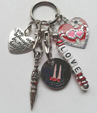 Personalised LOVE Keyring - Key Ring Gift - Heart - Stiletto Shoes Trolley Token