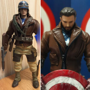 Captain America Artificial Leather Jacket 1/12 Model Fit 6in MEZ Action Figure