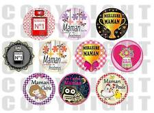 80 Images digitales pour bijoux cabochon Maman Fête des mères 6 formats rond