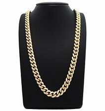 """MENS 26"""" 10MM MIAMI CUBAN LINK HEAVY 14K GOLD PLATED CHAIN NECKLACE HIP HOP"""